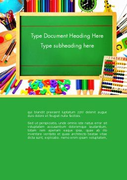 School Supplies Border Word Template, Cover Page, 13519, Education & Training — PoweredTemplate.com