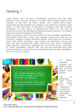 School Supplies Border Word Template, First Inner Page, 13519, Education & Training — PoweredTemplate.com