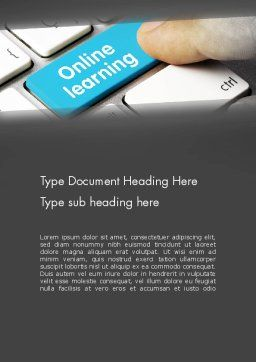 Online Learning Keyboard Word Template, Cover Page, 13535, Education & Training — PoweredTemplate.com