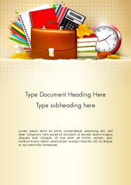 Back to School with School Supplies Word Template, Cover Page, 13555, Education & Training — PoweredTemplate.com