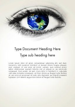 Globe in an Eye Word Template Cover Page