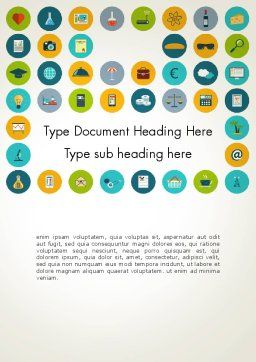 Flat Design Round Icons Word Template, Cover Page, 13559, Business Concepts — PoweredTemplate.com