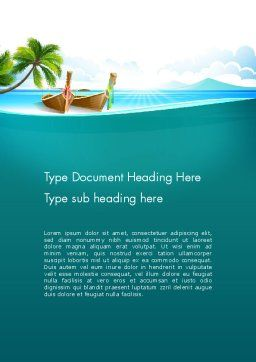 Tropical Island Word Template, Cover Page, 13568, Nature & Environment — PoweredTemplate.com