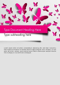 Pink Butterflies Word Template, Cover Page, 13571, Holiday/Special Occasion — PoweredTemplate.com