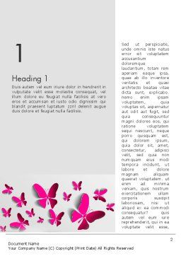 Pink Butterflies Word Template, First Inner Page, 13571, Holiday/Special Occasion — PoweredTemplate.com