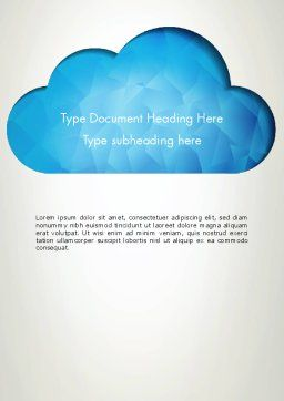 Blue Cloud Word Template, Cover Page, 13574, Careers/Industry — PoweredTemplate.com