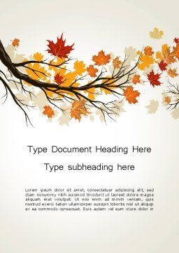 Maple Branch with Yellow Leaves Word Template, Cover Page, 13578, Nature & Environment — PoweredTemplate.com