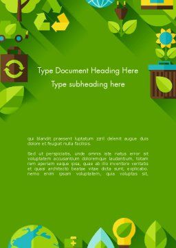 Green Sustainability Word Template, Cover Page, 13580, Nature & Environment — PoweredTemplate.com