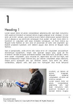 Businessman Working with Touchpad Word Template, First Inner Page, 13597, Business — PoweredTemplate.com