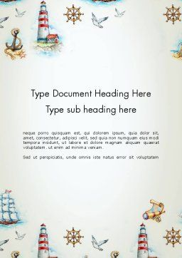 Marine Background Word Template, Cover Page, 13618, Careers/Industry — PoweredTemplate.com