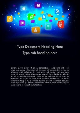 Mobile Application Icons Word Template, Cover Page, 13619, Technology, Science & Computers — PoweredTemplate.com