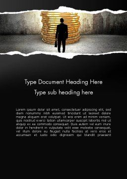 Businessman Standing in Front of Stack of Coins Word Template Cover Page