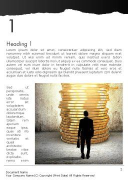 Businessman Standing in Front of Stack of Coins Word Template, First Inner Page, 13629, Financial/Accounting — PoweredTemplate.com