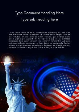 American Flag and Statue of Liberty Word Template, Cover Page, 13633, America — PoweredTemplate.com