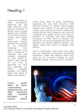 American Flag and Statue of Liberty Word Template, First Inner Page, 13633, America — PoweredTemplate.com