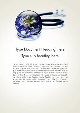 Global Medicine Concept Word Template, Cover Page, 13637, Medical — PoweredTemplate.com