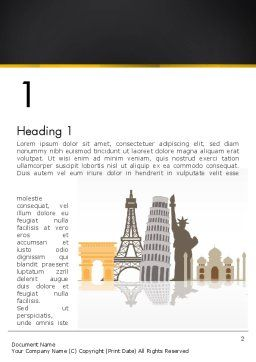 Landmarks from Around the World Word Template, First Inner Page, 13639, Construction — PoweredTemplate.com