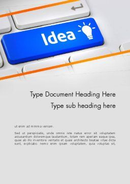 Idea Button On Keyboard Word Template, Cover Page, 13648, Business Concepts — PoweredTemplate.com
