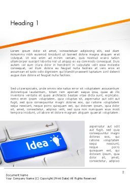 Idea Button On Keyboard Word Template, First Inner Page, 13648, Business Concepts — PoweredTemplate.com