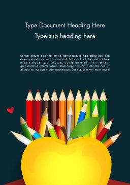 Knowledge Apple and Colored Pencils Word Template, Cover Page, 13650, Education & Training — PoweredTemplate.com