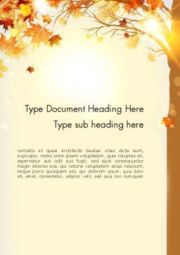 Yellow Leaves in the Sunset Word Template Cover Page