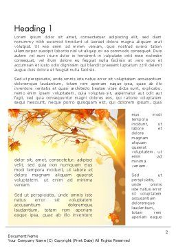 Yellow Leaves in the Sunset Word Template First Inner Page
