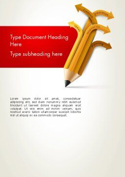 Education Pencil Word Template, Cover Page, 13657, Education & Training — PoweredTemplate.com