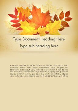 Bunch of Autumn Leaves Word Template, Cover Page, 13658, Nature & Environment — PoweredTemplate.com