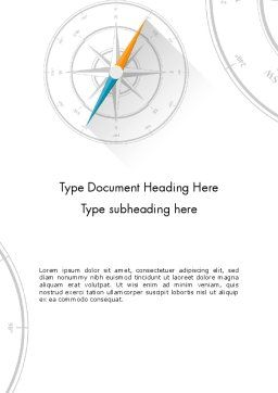 Compass on Wind Rose Word Template, Cover Page, 13665, Business Concepts — PoweredTemplate.com