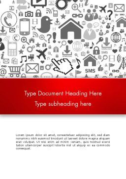 Virtual Community Icons Word Template, Cover Page, 13667, Careers/Industry — PoweredTemplate.com