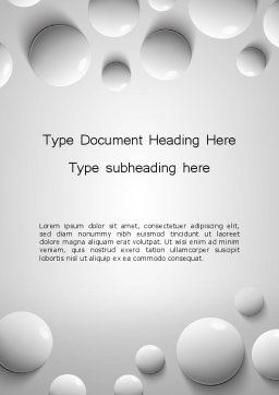 White Drops Word Template, Cover Page, 13668, 3D — PoweredTemplate.com