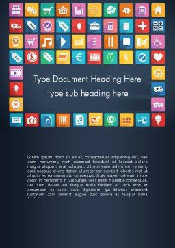 Grid Designed Flat Icons Word Template, Cover Page, 13670, Business Concepts — PoweredTemplate.com