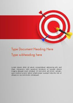 Red Bullseye Target Word Template, Cover Page, 13690, Business Concepts — PoweredTemplate.com