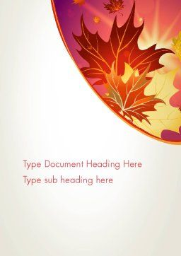 Autumn Leaves and Glow Word Template, Cover Page, 13699, Nature & Environment — PoweredTemplate.com