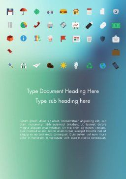 Color Flat Icons Word Template, Cover Page, 13717, Business Concepts — PoweredTemplate.com