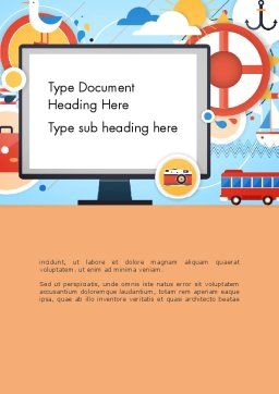 Vacation Background Word Template, Cover Page, 13723, Holiday/Special Occasion — PoweredTemplate.com