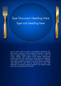 Gold Fork and Knife on Blue Cloth Word Template Cover Page