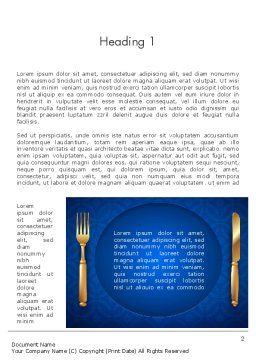 Gold Fork and Knife on Blue Cloth Word Template First Inner Page