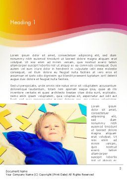 Boy with Tangram Puzzles Word Template, First Inner Page, 13733, Education & Training — PoweredTemplate.com