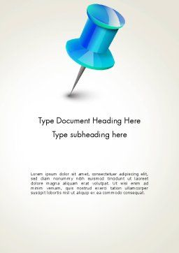 Blue Pin Word Template, Cover Page, 13734, Business Concepts — PoweredTemplate.com