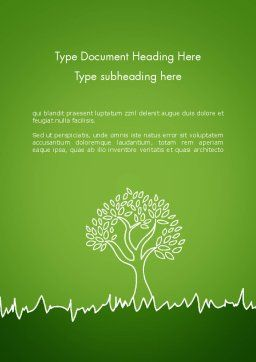 Green Tree and Grass Illustration Word Template Cover Page
