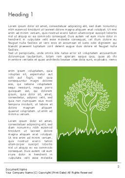 Green Tree and Grass Illustration Word Template First Inner Page