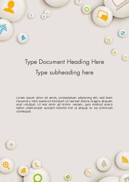 Scattering of Badges with Icons Word Template Cover Page