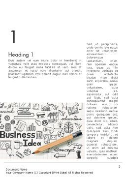Business Doodles Word Template, First Inner Page, 13748, Business — PoweredTemplate.com
