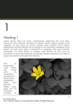 Yellow Flower on Gray Leaves Word Template, First Inner Page, 13760, Nature & Environment — PoweredTemplate.com
