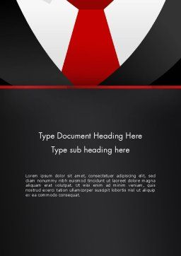 Formal Suit Word Template, Cover Page, 13774, Business — PoweredTemplate.com
