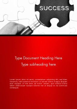 Magnifying Glass Searching Missing Puzzle Piece Word Template Cover Page