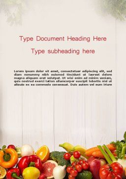 Fruits and Vegetables Word Template, Cover Page, 13782, Agriculture and Animals — PoweredTemplate.com