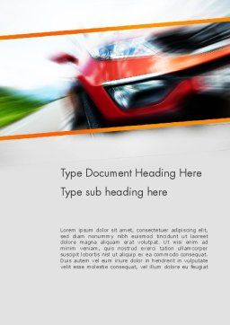 Speedy Car Word Template, Cover Page, 13787, Sports — PoweredTemplate.com