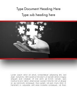 Businessman Hand with Glowing Puzzle Pieces Word Template, Cover Page, 13790, Business Concepts — PoweredTemplate.com